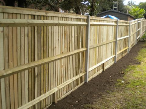 Feather Edge Fencing With Concrete Posts Installed Kent