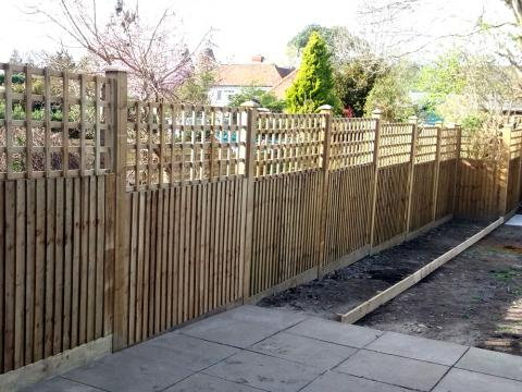 Closeboard Fencing With Trellis Installed In Kent