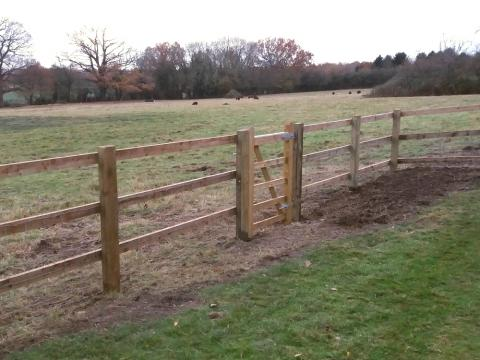 Timber Post And Rail Fencing Installed Kent